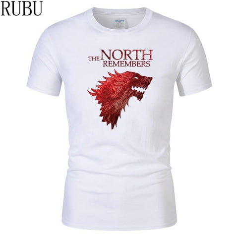 Winter Game of Thrones GOT RUBU Tshirt Homme  T Shirt Men Cool The North Remembers Blood Wolf T-shirt Men's Tee Shirts Camisetas Hombre AT_77_7