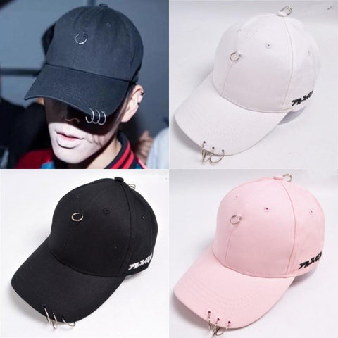 Trendy Winter Jacket Hot Selling New Mens Snapback Hats BTS Jimin Fashion K Pop Iron Ring Hats Adjustable Baseball Cap HR01 AT_92_12