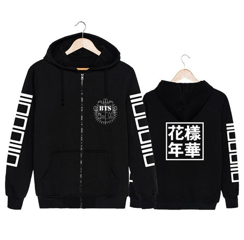 KPOP BTS Bangtan Boys Army 2018  Hoodies Sweatshirts For Women Fashion Black Grey   Sportwear Streetwear  Hooded Long Sleeve Zipper AT_89_10