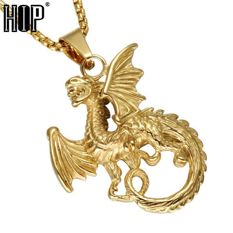 Winter Game of Thrones GOT HIP  Targaryen Dragon Pendants Necklace Gold Color 316L Stainless Steel Casting Necklace For Men Jewelry AT_77_7