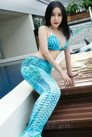 dc7552a93574b ... 3pcs/Set 2018 Women Swimming Sexy Pearl Bra Mermaid Tails with Monofin  Adults Ariel Bathing ...