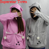 Cat Lovers Hoodies With Cuddle Pouch Mewgaroo Nyangaroo Dog Pet Hoodies For Casual Kangaroo Pullovers With Ears Sweatshirt 3XL - Animetee - 13