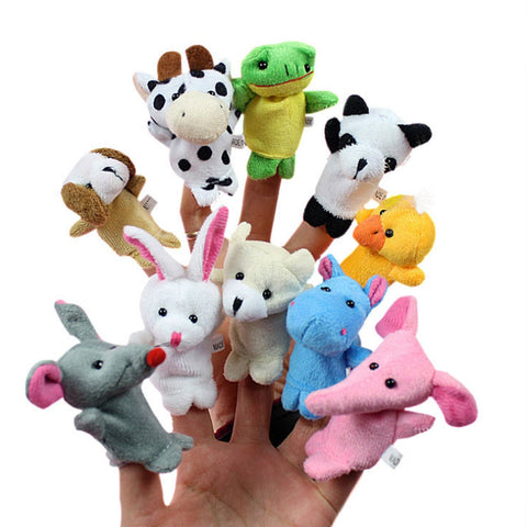 Baby Plush Finger puppets Various Animals 10 piece sets doll kids youth child nursery development story book - Animetee