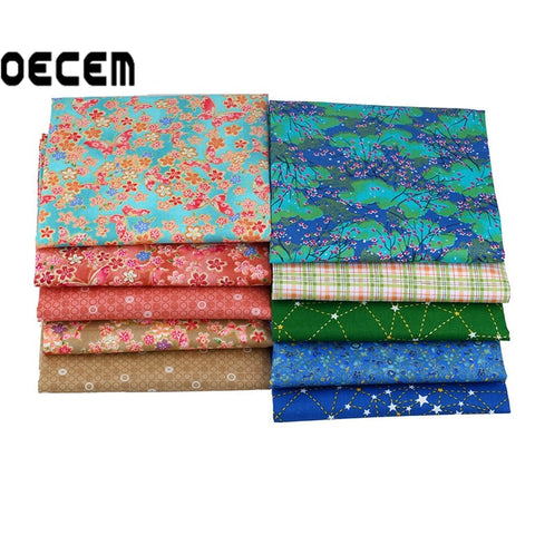 Japanese Style Cotton Quilting Fabric Patchwork Fat Quarter Bundles Tissues Fabric For Bedding Pillows Cushion 10pcs/lot O2-10-1