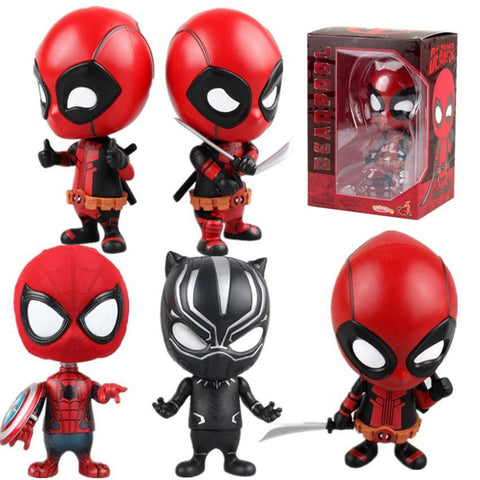 Deadpool Dead pool Taco Marvel 13styles 10cm  Figure Bobble-Head 1/10 scale painted  spider man Black Panther Doll PVC action figure toy AT_70_6