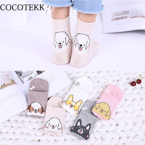 2018 Fashion Cute Dog Women Socks Casual Lovely Kawai Dog Animal Pattern Socks Female Husky Pugs Bulldog Schnauzer New Arrived