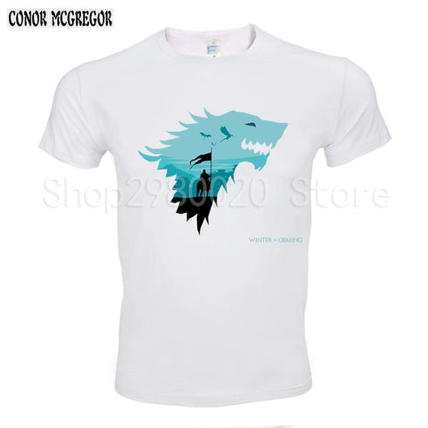 Winter Game of Thrones GOT  Men T Shirts Christmas ice wolf Funny Jon Snow Design Digital Printed Combed Top Quality Shirt AT_77_7