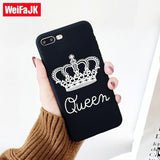 Trendy WeiFaJK Black Matte Case for iPhone 6 7 Silicone Crown KING Queen Soft TPU Back Cover Cases for iPhone 5s 7 8 Plus Case 6 5 Capa AT_94_13