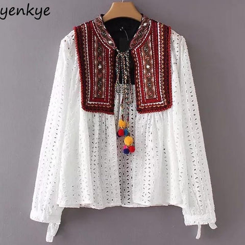 Trendy Women Sexy Hollow Out Ethnic Embroidery Jacket Lace Up Stand Collar Long Sleeve Cardigan Jackets Plus Size Brand chaqueta mujer AT_94_13