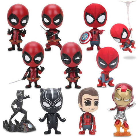 Deadpool Dead pool Taco 7 Styles  Spider-man Black Panther Bobble Head Shaking Avengers PVC Action Figure Collection Model Kids Doll Toy Gifts AT_70_6