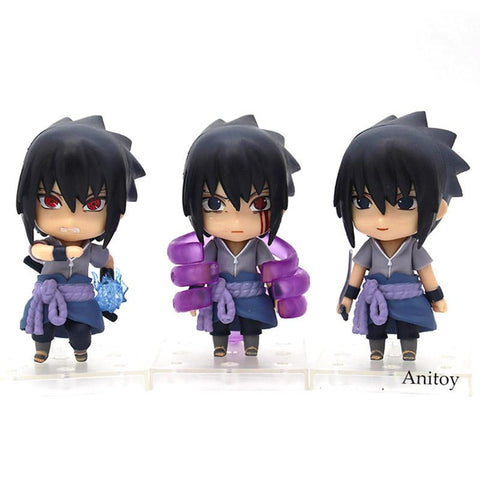 Naruto Sasauke ninja 3pcs/set Nendoroid  Shippuden Sasuke figure Uchiha Sasuke PVC Action Figure Collectible Model Toy  9.5cm AT_81_8