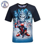 Mr.1991INC New Fashion helmet Comic Badass Deadpool T-Shirt Men/Women Cartoon Characters Ninja 3d t shirt Summer Tops Tees