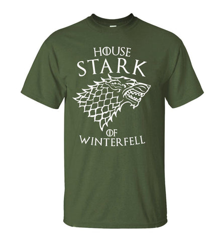 Winter Game of Thrones GOT  House Stark  Winterfell Men T Shirt 2018 Summer Round Neck Army Green Tshirt 100% Cotton Men's T-Shirts AT_77_7