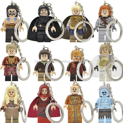 Winter Game of Thrones GOT  Jon Snow Lannister Daenerys Figure Keychain A Song  Ice and Fire Keys Ring DIY Chain Building Blocks Toys AT_77_7