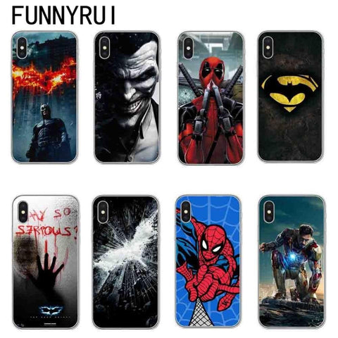 Deadpool Dead pool Taco Marvel Superheroes Batman SpiderMan Iron man Soft TPU Silicone Cover For iPhone X 8 7 6 6s Plus 5S SE Phone Cases Joker  AT_70_6