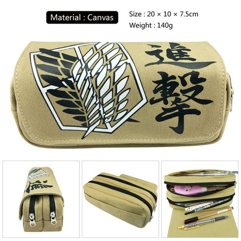 Cool Attack on Titan Anime  BTS Naruto Goku Death Note Canvas Zipper Pencil Wallet Purse Bag Pouch Boy Zipper Bog Girl Students Bags AT_90_11