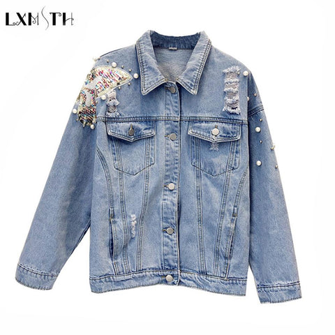 Trendy 2018  Spring Korean Fashion Women Jeans Jacket  Denim Jackets Pearls Beading Kpop Jeans Coat Loose Long Sleeve Ripped Jackets AT_94_13