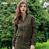 Trendy FREE ARMY Brand New Autumn Woman Bomber Jackets Army Green Letters Print Casual Basic Jacket For Women Clothing Outerwear Coats AT_94_13