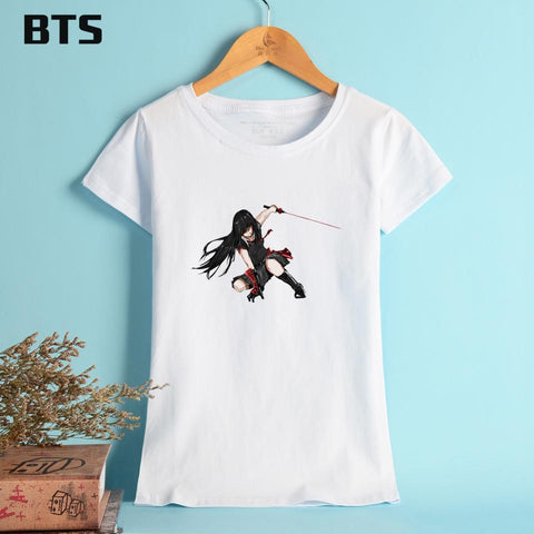 Kawaii Sailor Moon Sailormoon BTS Akame Ga Kill! T-shirt Women Cotton Short Sleeve Woman Tshirt Top Summer Casual Anime Korean Style Tee Shirts White Black
