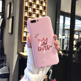 Trendy KISSCASE Phone Case For iPhone 6 6S Plus X Couple King Queen Plain Soft TPU Phone Cover For iPhone 7 8 Plus Shells IX Coque Capa AT_94_13