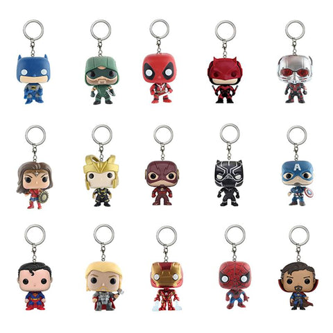 Batman Dark Knight gift Christmas Marvel and DC Super Hero Key Chain Batman Deadpool Wonder Woman Thor Superman Iron Man Action Figure Toy Doll With Retail Box AT_71_6