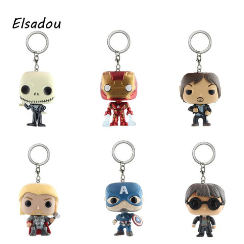 Batman Dark Knight gift Christmas Marvel Super Hero Harley Quinn Captain America Harry Potter Hulk Batman Action Figures Toy Keychain With Retail Box AT_71_6