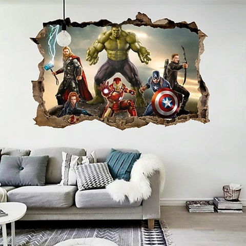 % cartoon movie Avengers wall stickers for kids rooms home decor 3d effect decorative wall decals diy mural art pvc posters art