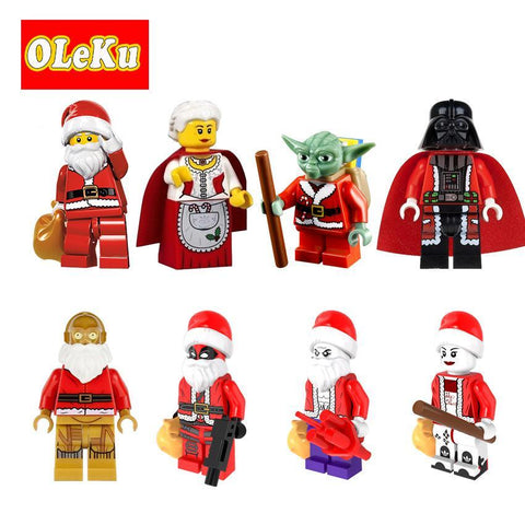 Deadpool Dead pool Taco Super Heroes Figures Christmas C3PO Santa Claus Yoda Joker  Darth Vader Harley Quinn Granny Bricks Toys for children AT_70_6