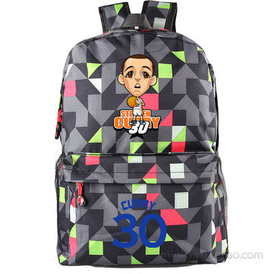 Golden State Warriors MVP Stephen Curry  Thompson student girl boy basketball star cartoon printing  School Bag  Name celebs - Animetee - 1
