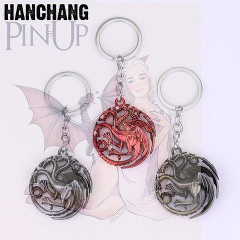 Winter Game of Thrones GOT  Key Trinkets Metal Dragon Targaryen Key Holder Key Rings For Gift Men Vintage Car Keychain Jewelry Souvenirs AT_77_7