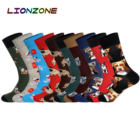 Hot Brand Men Socks with Funny 10 Colors 3D Pet Dogs Pugs Hounds Wedding Gift Streetwear Cotton Happy Socks Chaussette Homme