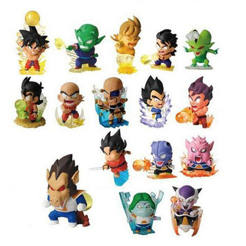 16pcs  figurine Dragon ball z resine figure toys lot 2016 New 5cm Q version super saiyan 3 goku vegeta  figuras 80's - Animetee