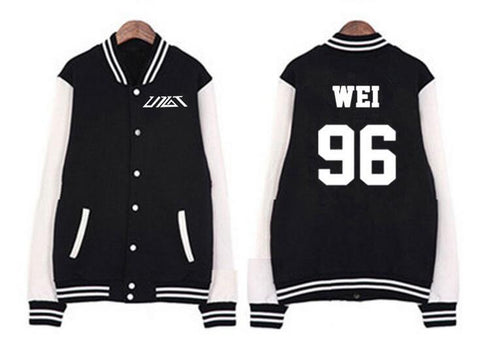 Trendy Fashion preppy style kpop single breasted baseball jacket new idol group up10tion member name printing hoodie jacket AT_94_13