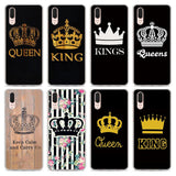 Trendy Luxury King Queen Couple crown pattern Transparent hard Phone Case cover for Huawei P Smart P20 P20Lite P10 Lite P8 P9 Lite 2017 AT_94_13
