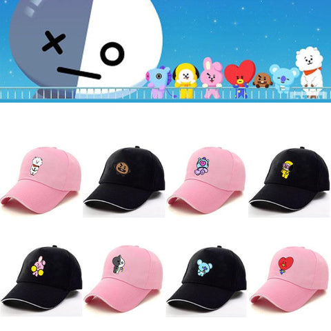 KPOP BTS Bangtan Boys Army  home New BT21 Bulletproof Cadet  Chapeus Baseball Chapeus Summer Men's and Women's Tide Chapeus Around the Stars AT_89_10