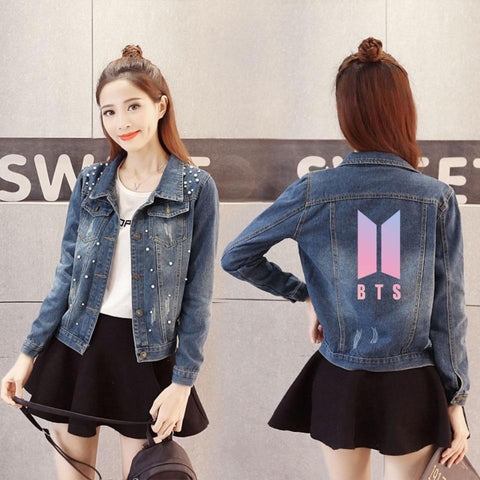Trendy LUCKYFRIDAYF 2018 Kpop BTS Love Yourself  Denim Jacket Jeans Chaquetas Mujer Women Capless Hoodies Women Coat Clothes Plus Size AT_94_13