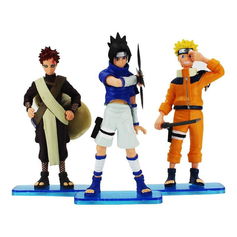 Naruto Sasauke ninja 3 Pcs/Set 15 cm Cartoon  Uzumaki  Uchiha Sasuke Gaara PVC Action figure Toys Kids Collection Model Gift AT_81_8