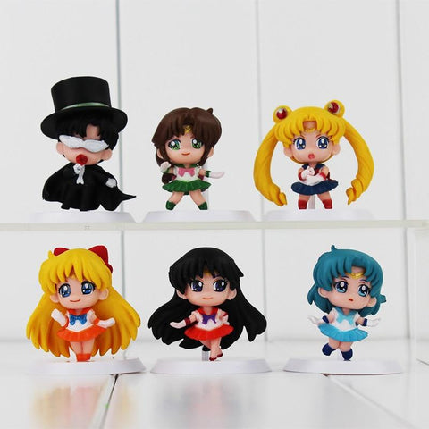 Kawaii Sailor Moon Sailormoon 6pcs/lot  Canina Naruto One Piece Saint Seiya Digimon PVC Figures Doll Model Toys Children Toy Gifts 4.5-5.5cm