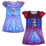 Cool Baby Summer Snow Queen Princess Anna Elsa Flower Dress For Girls Children Kids Pajamas Vestidos Teenager Dressess ClothingAT_93_12