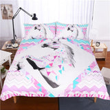 Cool White horse bedding sets 3pcs 3d unicorn printed comforter cover king queen twin sizes girls kids duvet cover sets Home textileAT_93_12