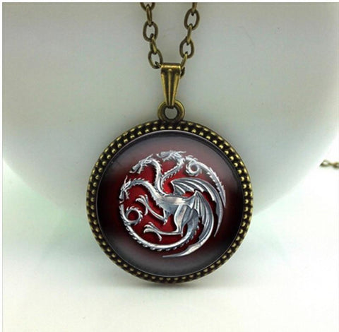 Winter Game of Thrones GOT 2017 New    Pendant Famille Targaryen Necklace Vintage Photo Jewelry Glass Cabochon Pendants Silver Link Chain HZ1 AT_77_7
