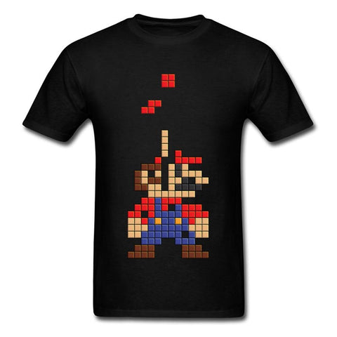 Super Mario party nes switch  Tshirt Tetris Gamer Funny T-Shirts For Student 80's Cartoon Image T Shirt Top Quality Full Cotton Brand Tee New AT_80_8