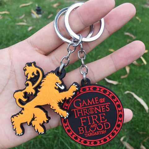 Winter Game of Thrones GOT  rubber Keychain House Targaryen House Lannister Pendant Keyring For Children Charms gift AT_77_7