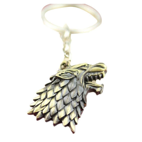 Winter Game of Thrones GOT 3 Colors    Stark Wolf head Key Chain Vintage  Movie Series Pendant Keychains For Men and Women AT_77_7