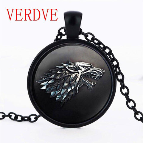 Winter Game of Thrones GOT 3/Color  Necklace Pendant House  Stark Black Wolf Jewelry Gothic Glasses Pendant Necklace Sweater Chain Gifts AT_77_7