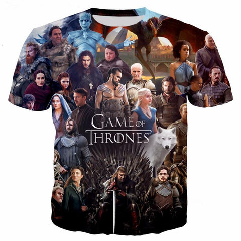 Winter Game of Thrones GOT New  Print 3d T Shirts Women Men T-shirts Hipster Hot TV characters tees Short Sleeve tshirts Unisex Tees Tops AT_77_7