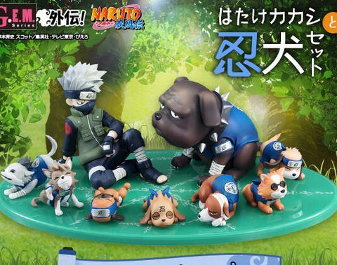 Naruto Sasauke ninja 9pcs/set Hatake Kakashi  Eight Ren Dogs Cartoon Anime Action Figure PVC toys Collection figures for friends gifts AT_81_8