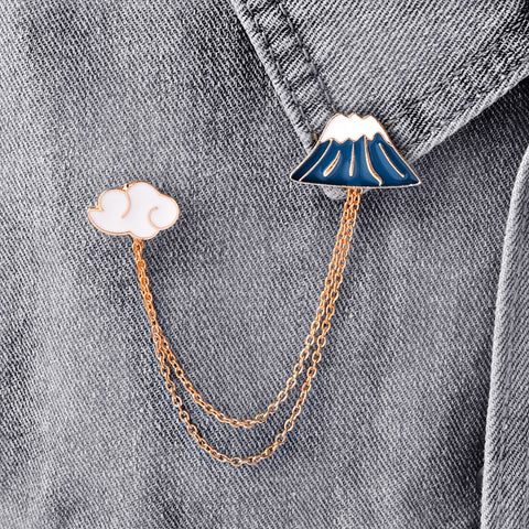 Cute Mount Fuji & White Clouds Collar Pins Metal Hot Sale Japan Style Brooch Set  For Unisex Best Gifts To Friend