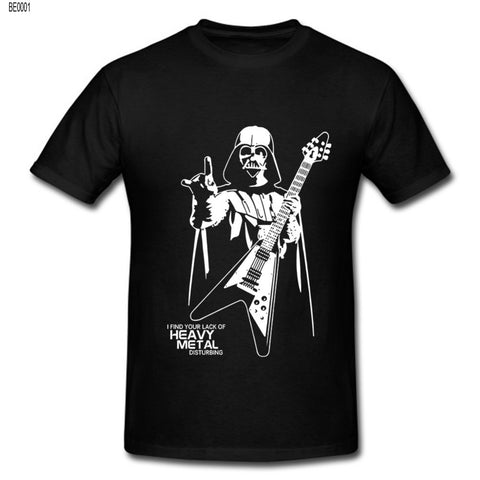 Darth Vader Heavy Metal Designer Funny T Shirts Short Sleeve Tee Shirts Creative Star Wars t-shirts Cotton S-XXL Shirt 80's hwd - Animetee - 1