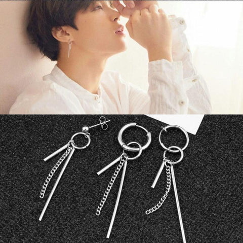 KPOP BTS Bangtan Boys Army home New for boys   JIMIN JIN Same earrings stainless steel high quality Man and Women's sexy with tassel Ear ring AT_89_10